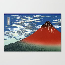 """Hokusai (1760–1849) """"Fuji, Mountains in clear Weather (South Wind, Clear Sky)(Red Fuji)"""" Canvas Print"""