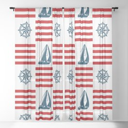 Nautical pattern Sheer Curtain