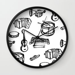 Toy Instruments, Black and White Wall Clock