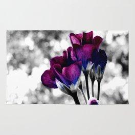 Magenta Blue Flowers Pop of Color Rug