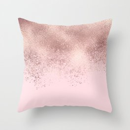 Girly Blush Pink Rose Gold Sprayed Confetti Ombre Throw Pillow