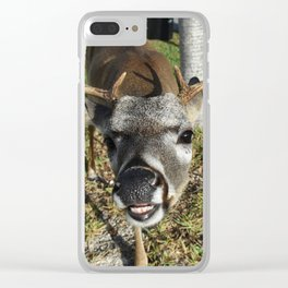 Smiling Key Deer Clear iPhone Case