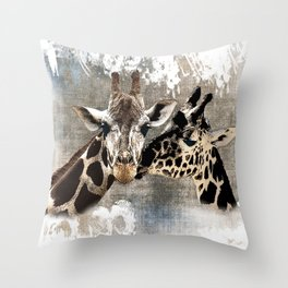 Snuggle Bug Giraffes Throw Pillow