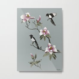 Magpies and Magnolia Metal Print