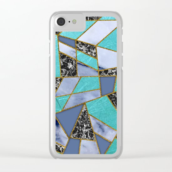 Abstract #457 Marble Shards Clear iPhone Case