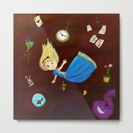 Alice in Wonderland falling through rabbit hole Metal Print
