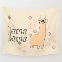 llama Wall Tapestries featuring llama llama by Vickn