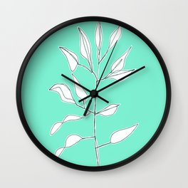 One line plant with background Wall Clock