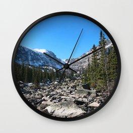 Watercolor Landscape, Lake Hiyaha 01, RMNP, Colorado Wall Clock