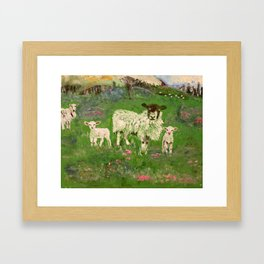 Lambs in the Meadow Framed Art Print