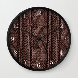 Brown braid jersey cloth texture abstract Wall Clock