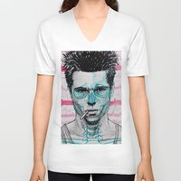 tyler spangler V-neck T-shirts featuring Tyler Durden by Bronsolo Illustration