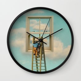 Window cleaner in the sky 02 Wall Clock