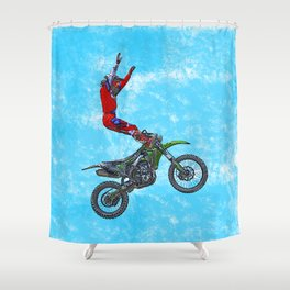 MotoCross Aerial Foot Grab Sports Stunt Shower Curtain