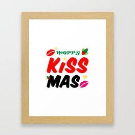 Retro Merry Kissmas Holiday Framed Art Print