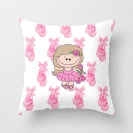 Little Ballerina in Pink Throw Pillow