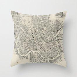 Vintage Map of Boston MA (1838) Throw Pillow