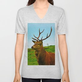 The Stag on the hill Unisex V-Neck