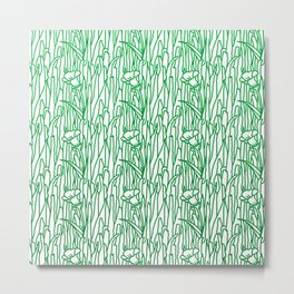Garden Bloom - green outlines - nature repeating pattern Metal Print