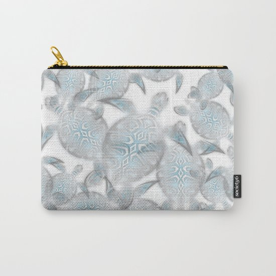 Silver Turtles Pattern Carry-All Pouch