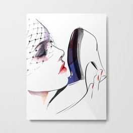 Woman holding shoes, Fashion Beauty, Fashion Painting, Fashion IIlustration, Vogue Portrait, #16 Metal Print