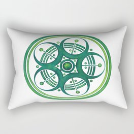 Radial Design Green No. 3 Rectangular Pillow