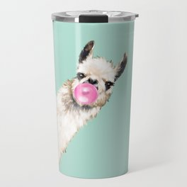 Bubble Gum Sneaky Llama in Green Travel Mug