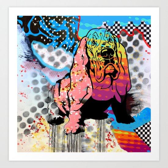 Basset pop art Art Print
