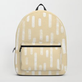 White on Pale Neutral Yellow   Large Scale Inky Rounded Lines Pattern Backpack