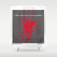 tarantino Shower Curtains featuring No067 My Pulp Fiction minimal movie poster by Chungkong