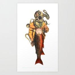 Salmon diver  Art Print