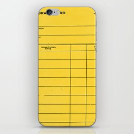 Library Card BSS 28 Yellow iPhone Skin
