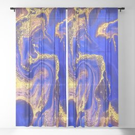Marble gold and deep blue Sheer Curtain