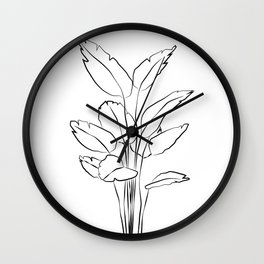 ''Plants Collection'' - Minimal One Line Plant Print Wall Clock