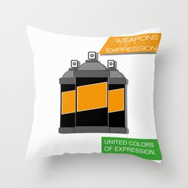Weapons of mass expression Throw Pillow