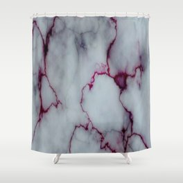 White with Maroon Marbling Shower Curtain
