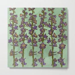Flower Stalk Motif, Mint Background Metal Print
