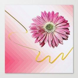 pink gerbera daisy with ribbon Canvas Print