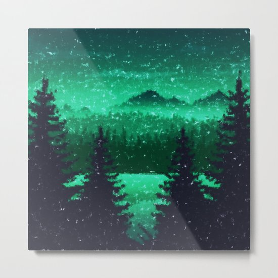 Snowing in the forest Metal Print