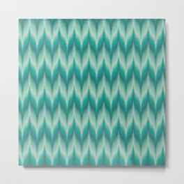 Bargello Pattern in Teal and Turquoise Metal Print