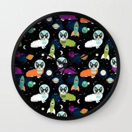 Corgi welsh corgi outer space astronaut rockets cute dog costume pet friendly dog art Wall Clock