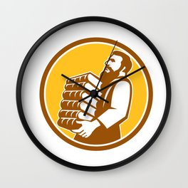 Saint Jerome Carrying Books Retro Wall Clock