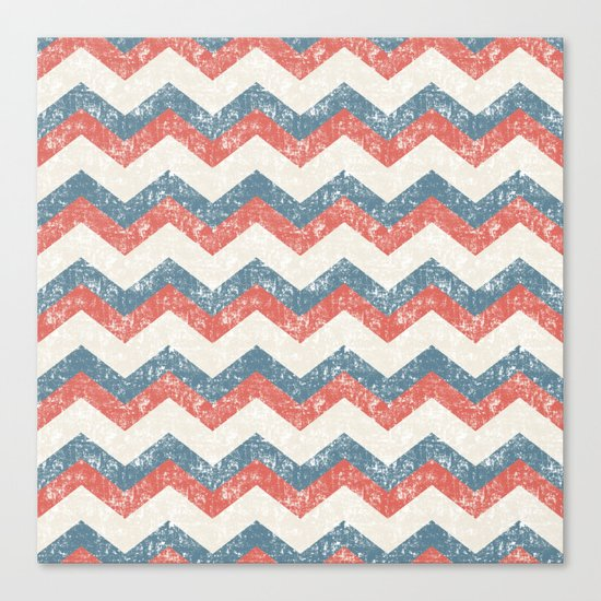 Maritime Navy Chevron ZigZag in Red White Blue Canvas Print