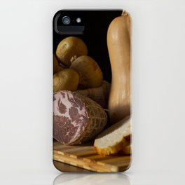 Italian Still Life with Ham and Vegetables iPhone Case
