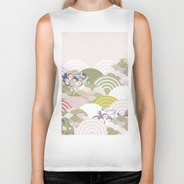 scales simple Nature background with japanese sakura flower, rosy pink Cherry, wave circle pattern Biker Tank