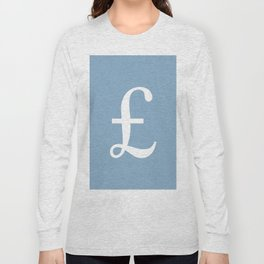 Pound currency sign on placid blue background Long Sleeve T-shirt