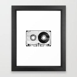 1980's Retro Black-White Vintage 80's Cassette Eighties Technology Art Print Home Decor Wall Decor Framed Art Print