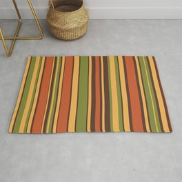 Retro Stripes - Mid Century Modern 50s 60s 70s Pattern in Green, Orange, Yellow, and Brown Throw Pillow Rug
