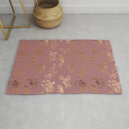 Mauve pink faux gold wildflowers illustration Rug