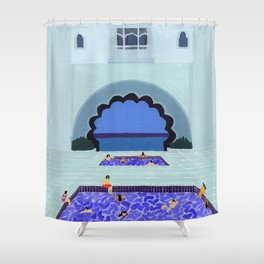 Scallop pool Shower Curtain